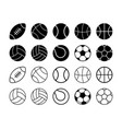 set of simple flat sports balls vector image vector image