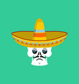 skull in sombrero sad emoji mexican skeleton for vector image vector image