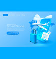 smartphone airplane app banner concept place for vector image