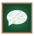 Speech bubble icon White chalk effect on green vector image