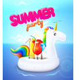 summer party unicorn inflatable pool ring vector image vector image
