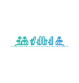 Surfers on island with palms icon and logo vector image vector image