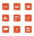 survey icons set grunge style vector image vector image