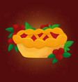 thanksgiving day traditional cranberry pie autumn vector image