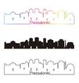 Thessaloniki skyline linear style with rainbow vector image vector image