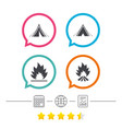tourist camping tent signs fire flame icons vector image vector image