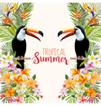 Tropical Flowers Toucan Bird Tropical Background vector image vector image