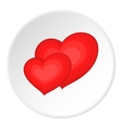 Two red hearts icon cartoon style vector image vector image