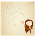 Valentine card with cute little girl vector image vector image
