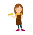 Waitress cartoon icon vector image