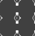 watches icon symbol Seamless pattern on a gray vector image
