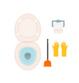 wc icon settoilet bowlpaperbrush or plunger and vector image