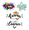 welcome to cancun typography set travel greeting vector image vector image