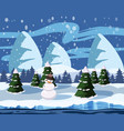 winter cute landscape snowman christmas trees in vector image vector image