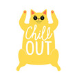 with relaxed lying yellow cat in black sunglasses vector image