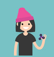 young female character spinning a hand toy stress vector image