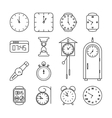 Clock and time line icons set vector image