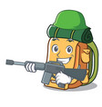 army backpack character cartoon style vector image