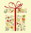 autumnal gift with colorful leaves for seasonal de vector image