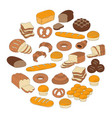 bakery fresh bread collection doodle style vector image
