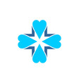 blue cross covered four blue hearts vector image vector image