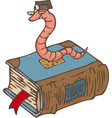 bookworm on closed book with bookmark vector image vector image