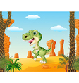 Cartoon funny dinosaurwith the desert background vector image vector image