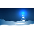 christmas tree blizzard stars snow sky night blue vector image vector image
