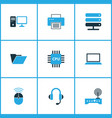 computer icons colored set with laptop wifi cpu vector image vector image
