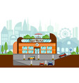 concept a supermarket with underground parking vector image