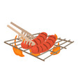 cooking sausage on bbq icon cartoon style vector image vector image