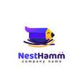 creative logo bird little pencil in nest vector image