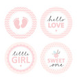 cute baby shower stickers round pink tags vector image