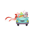 cute bunny driving blue vintage car decorated with vector image vector image