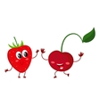 Cute funny comic style garden strawberry and vector image vector image