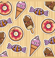 delicious sweet donut with ice cream pattern vector image