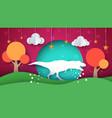 dinosaur cartoon paper landscape vector image vector image
