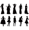 Elegant silhouettes of women vector image vector image