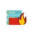 Fire protection in file store icon flat style vector image vector image