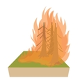 Forest fire icon cartoon style vector image vector image