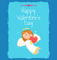 girl holding hear happy valentine day vector image vector image