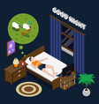 good night isometric composition vector image vector image