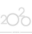 happy 2020 year card with line text vector image vector image