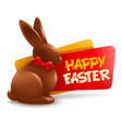 happy easter festive label or badge with vector image vector image