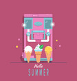 ice - cream machine with lettering hello summer vector image vector image
