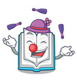 juggling opened book in the cartoon box vector image vector image