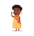 little girl wearing national costume of africa vector image vector image