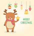 merry merry christmas card with reindeer vector image