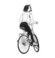 monochrome drawing gorgeous young woman riding vector image