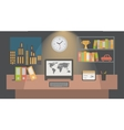 Office workspace interior nighttime flat vector image vector image